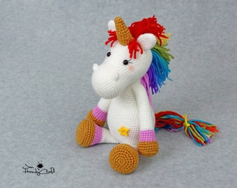 Rainbow unicorn toy Fantasy animal Nursery decor Plush unicorn lover gift for girl Fantasy creature Stuffed unicorn doll Stuffed animal toy