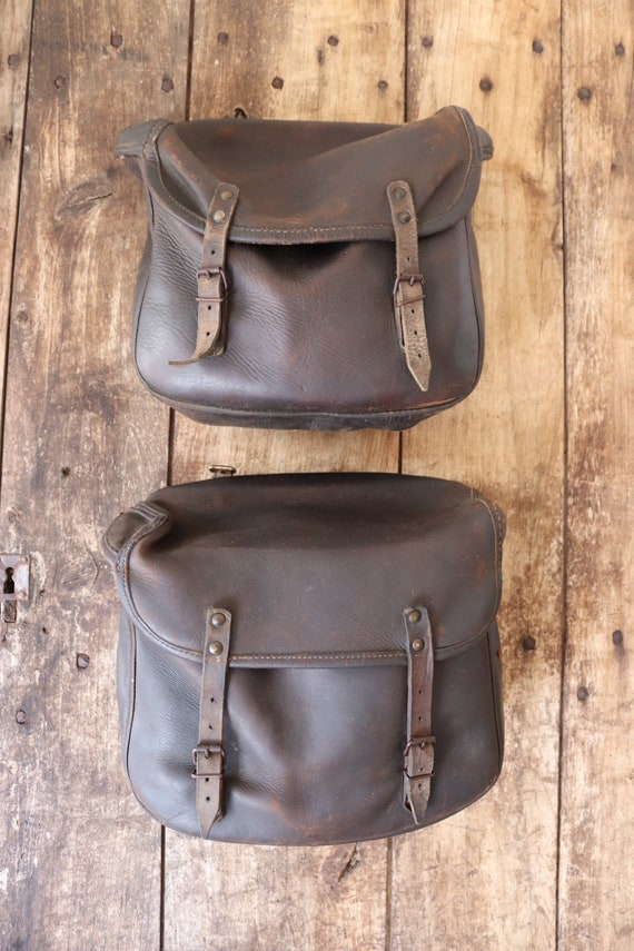 Vintage 1940s 40s 1950s 50s french thick brown leather motorcycle motorbike bicycle bike pair panniers bags rockabilly