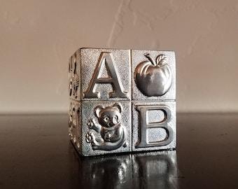Silver Baby Block Bank