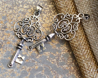 Sterling Silver Skeleton Key Pendant Ornate Key Pendant Key to My Heart Pendant Gift for Her Secret Garden Key Vintage Key Necklace KP171214