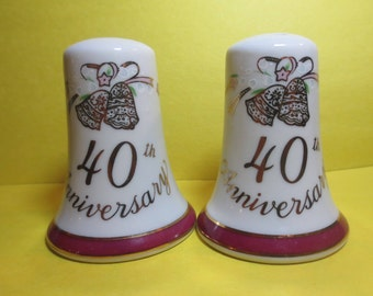 Vintage Lefton 40th Anniversary Salt and Pepper Shakers