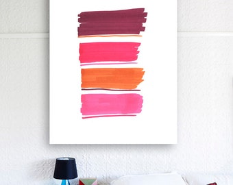 South fruits color lines, abstract contemporary modern wall art print