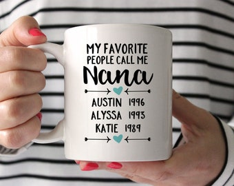 Mothers Day Gift for Nana Personalized Nana Birthday Gift for Nana Gift Coffee Mug Custom Nana Gift Blue My Favorite People Call Me Nana Mug
