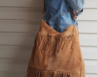 Boho, Suede, Fringe Bag. The Trifecta of Awesome. Upcycled, OOAK and Ready For You