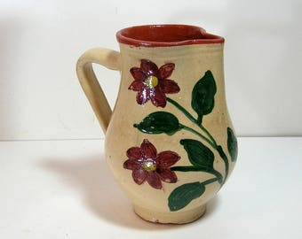 Redware Pottery Pitcher with Flowers