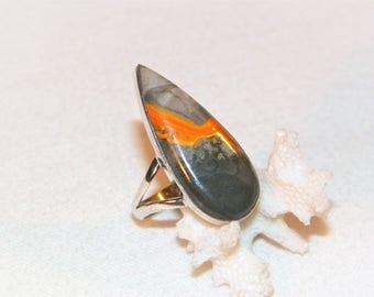 Size 10.25 Bumble Bee Jasper Sterling Silver Ring, 925 Hand set Jasper Ring, High Quality New Hand Made Ring, Orange Black Jasper Ring