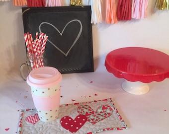 Valentine's Day Mug Rugs - Custom Fabrics Available