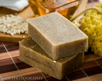 Goat Milk Soap.  Honey Oatmeal soap. All Natural Unscented Goat Milk Soap or Oatmeal, Milk & Honey scented. With CERTIFIED SUSTAINABLE PALM.
