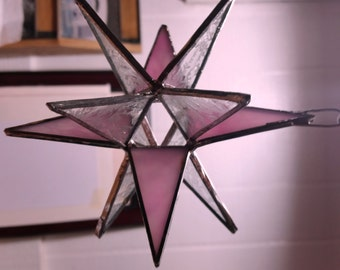 Pink and clear glue chip 12 point stained glass star, suncatcher.