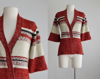 1970s space dye cardigan - 70s vintage knit sweater - stripe acrylic rust burnt orange black space dyed - women size small medium s m