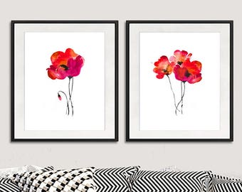 Watercolor red poppies print, watercolor art print painting flowers, red painting, red flower home decor, wall art, set of 2 prints - 19AB