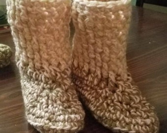 Crocheted soft and comfy slipper boots.