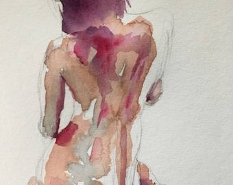 Figure study, watercolor