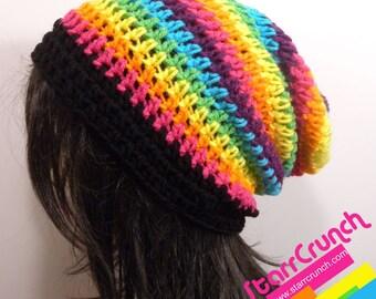 Slouchy Beanie Crochet Hat in Thin Rainbow Stripes