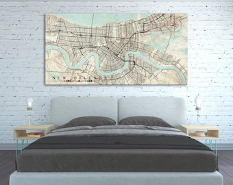 NEW ORLEANS LA Canvas Print Louisiana New Orleans Huge Vintage map City Poster Horizontal Large Wall Art decor old retro oversized gift idea