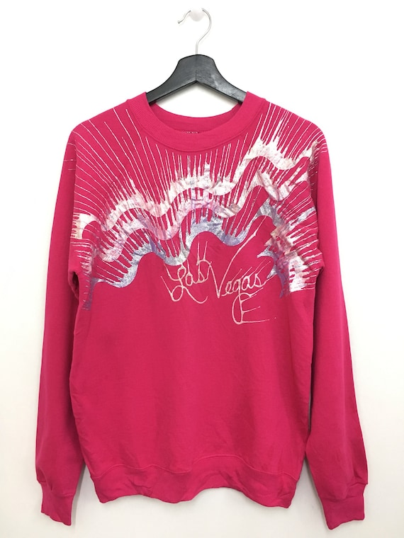 Very Rare!! Vintage 80s LAS VEGAS Sweater Sweatshirt pullover Medium Size Individually Handcrafted Deadstock With Tag iCzem4YNA2