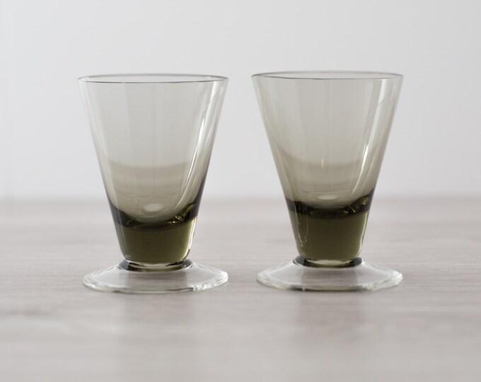 Pair of Vintage Smoke Grey Apéritif Glasses (MCM Mad Men 1960's Martini Bubble Style Liquor Barware)