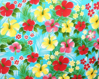 Hawaiian fabric - floral fabric - tropical cotton - Summer fabric - retro fabric - Hawaiian cotton fabric - cotton for dressmaking