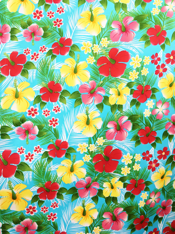 Hawaii Blumen Stoff tropischen Baumwoll Sommer retro