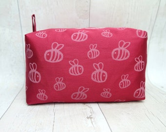 Large Bumble bee box makeup bag made screen printed cotton fabric, fully lined with water proof fabric