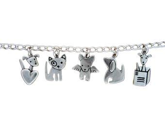 Dog Bracelet with 5 Dog Charms - Silver Dog Charm Bracelet