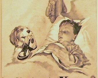 1940 Keds Shoes Ad Matted Vintage Print Boy, Dog, Baseball