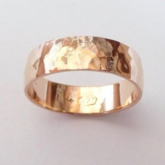 Men rose gold wedding band hammered wedding ring 6mm wide ring
