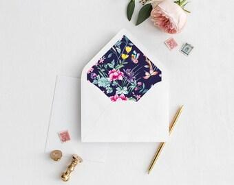Floral Envelope Liner | Printable Envelope Liner | Wedding Envelope Liner | A7 & A6 Envelope Liners | DIY Envelope Liner | Chinoiserie Liner