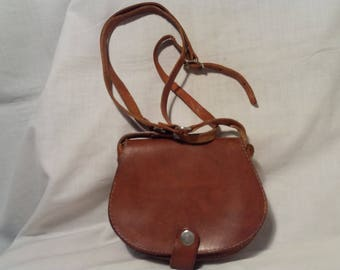 Pelle marrone borsa - borsa a tracolla - piccole dimensioni di Vintage 1980 - nuovo