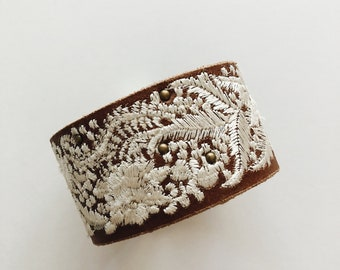 Custom Embroidered Lace Leather Cuff