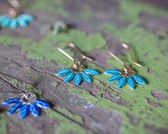 Gold turquoize earrings. enamel  Earrings. Long Dangle floral Earrings. romantic bride earrings