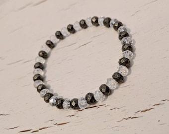 Pyrite & Glass Rondelles Bracelet