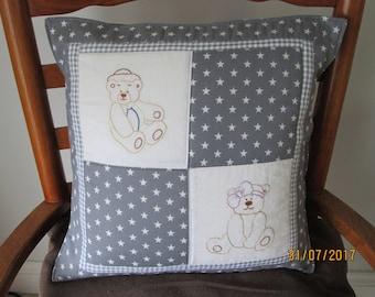 Hand embroidered teddy bear cushion cover