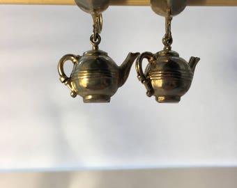 Vintage teapot screw back earrings