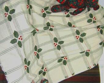 Holly Holiday afghan, Swedish weave digital pattern