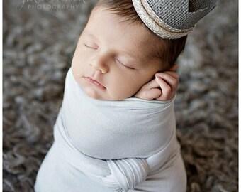 Christian Baby Boy Crown • Burlap Newborn Crown • Newborn Photo Prop   READY TO SHIP