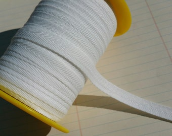 """White Twill Tape Trim - POLYESTER - Sewing Bunting Shipping Packaging - 3/8"""" Wide - 10 Yards"""