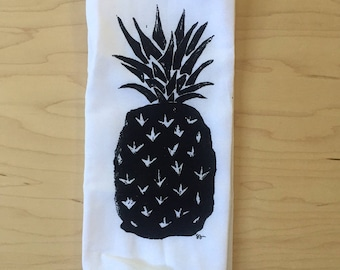 "pineapple - 100% cotton hand printed flour sack towel - 29"" square"