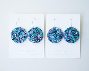 Full moon large dangle / drop earrings   Peacock glitter   Laser cut acrylic   Handmade