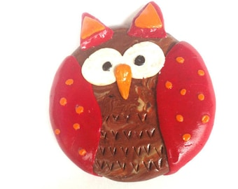 Badge color and Red OWL wood Fimo