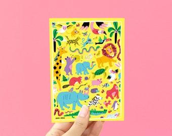 Postcard A6 animals- greeting card / postcard - postcards animals - animals postcards - animal postcard kids - postcard cute animals print