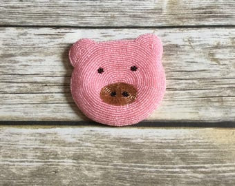Vintage Inspired Livestock Pig Beaded Coin Purse Embellished Pouch