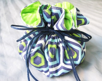Jewelry Travel Pouch, Dark Blue Lime Green Drawstring Bag, Jewelry Storage, Girlfriend Gift Pouch