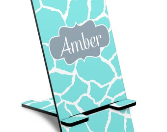 Personalized Phone Stand - Giraffe Print Phone Stand, Custom Phone Stand, iPhone Stand, Samsung Phone Stand
