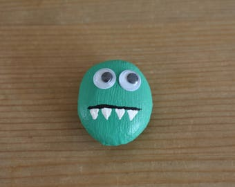 Painted Beach Stone Monster- Green with Googly Eyes