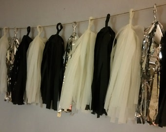 Black White and Silver 20 Tassel Tissue Paper Garland, Over The Hill, Birthday Party Decorations, Wedding Decorations, Black and White, Poms