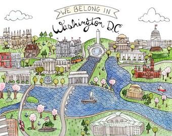 "We Belong in Washington DC print 8.5x11"""