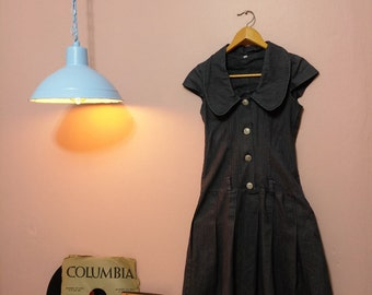 Women's Black Dress.Women's Dresses.Black Jeans Daring Vintage Dress For Women 1990s. Jeans Dress. Midi Dress.Womens Dress.Women Clothing