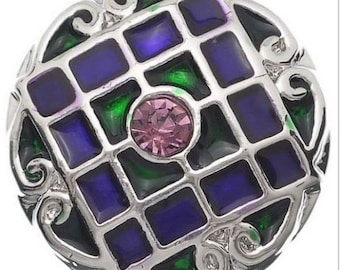 """One Round Purple & Green Enamel """"Stained Glass"""" Snap Button/Charm/Chunk (for Ginger Snaps or Noosa-type Jewelry)"""