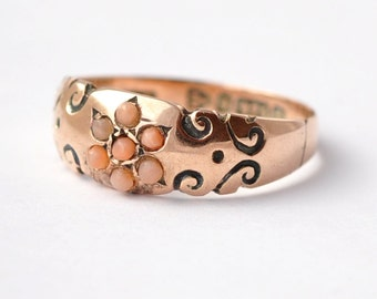 Victorian Jewelry: Coral & 9K Gold, Size 5.75/6